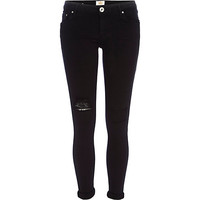 River Island Womens Black ripped Cara superskinny reform jeans