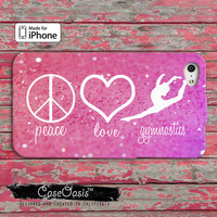 Peace Love And Gymnastics Pink Sparkle Cheer Tumble Dance iPhone 4/4s Case iPhone 5 and 5s and 5c Case And Wallet Style and iPhone 6 and 6+