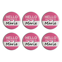 Marie Hello My Name Is Plastic Resin Button Set of 6