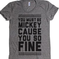Must Be Mickey-Female Athletic Grey T-Shirt