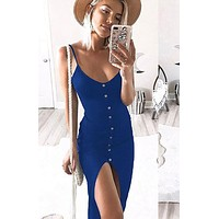 Newly Sexy Fashion Dress Women Ladies Sleeveless V-Neck Skinny Solid Button High Waist Ankle-Length Dress