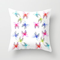 Colorful flowering butterflies. Floral photo art. Throw Pillow by NatureMatters