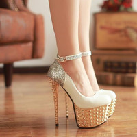 Fashion Round Closed Toe Platform Rivet Embellished Stiletto High Heels White PU Ankle Strap Pumps