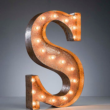 Letter S Antique Marquee Light