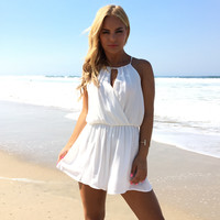 Out Of The Way Romper In White