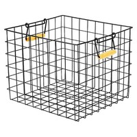 Large Metal Milk Crate with Wooden Handles - Black - Room Essentials™