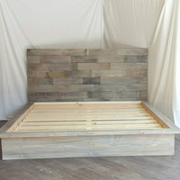 """Steph grey driftwood finished platform bed with horizontal staggered patched recycled reclaimed wood 50"""" headboard"""