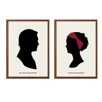 Would You Go To War With Me? Poster : 'Chair' Modern Illustration Gossip Girl TV Series Retro Art Wall Decor - Set of Two Prints A4 11 x 8