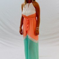 Coral/Mint Colorblock Maxi Dress With Spaghetti Neck Tie - Always a Runway Clothing
