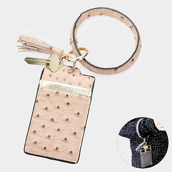 Faux Leather Tassel Key Chain / Bracelet / Card Holder Wallet