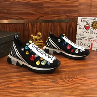 Dolce & Gabbana D&G Sorrento Sneakers With Embroidery Black - Best Online Sale