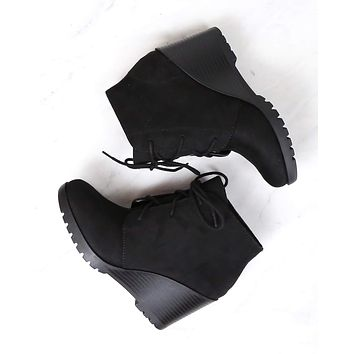 Not So Far Fetched Lace-Up Wedge Ankle Booties in Black