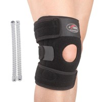 Free Shipping Adjustable Sports Leg Knee Support Brace Protector Pads Sleeve Cap Patella Guard 2 or 4 Spring Bars One Size Black