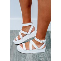 Best Believe It Platform Sandals: White