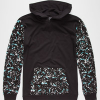 Blue Crown Paint Splatter Boys Lightweight Hoodie Black  In Sizes