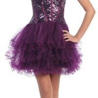 Strapless Cocktail Party Junior Prom Sequins Dress #847 (4, Purple)