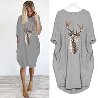 women long sleeve dress harajuku casual knee-length dress s-5xl plus size dresses elbise christmas moose print party vestidos