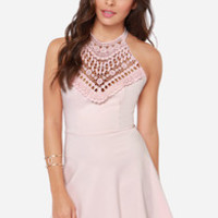 Lace In the Right Place Light Pink Halter Dress