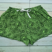 Paisley Shorts Print For Beach Summer Boho Fashion Clothing Tribal Chic Hippie Aztec Ethnic Ikat Hobo Cloth Gift for Men Women in Green