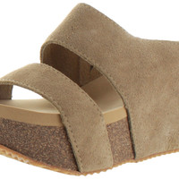 Volatile Vice Women's Wedge Cork Sandals Suede Leather