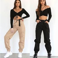Women's Fashion High Waist With Pocket Hip-hop Pants [1918873632865]