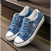 Fashion Casual Trend Within The Increase Thick Bottom  Denim Canvas Shoes
