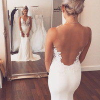 2016 Elegant Mermaid Lace Appliques Backless Bridal Gowns Sexy V-Neck Sweep Train Wedding Dresses High Quality
