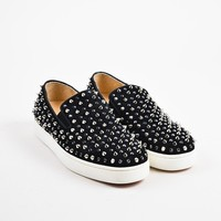 DCCK2 ?Christian Louboutin Black Suede Spike   Roller   Slip On Sneakers