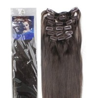 """18"""" Clip in Remy Human Hair Extensions 2# Dark Brown 7pcs 70g"""