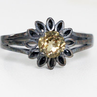 Oxidized Citrine Sunflower Ring Sterling Silver, November Birthstone Ring, Oxidized Sterling Ring, Oxidized Citrine Ring, Sterling Citrine