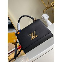 LV Louis Vuitton WOMEN'S LEATHER Twist One Handle Large SIZE SHOULDER BAG BLACK