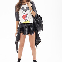 FOREVER 21 Mickey Mouse Baseball Tee Cream/Multi
