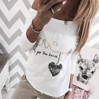 Floral Printed Women Casual Long Sleeve Round Necked Top T-Shirt _ 10294