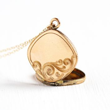 Antique Victorian Locket - 1890s Era 10k Rosy Yellow Gold Filled Fob Pendant Necklace - Vintage Etched Designs Rounded Photograph Jewelry