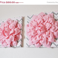 """MOTHERS DAY SALE Two Wall Flower Decor -Light Pink Dahlia on Pink and Gray Chevron 12 x12"""" Canvas Wall Art- Baby Nursery Wall Decor-"""