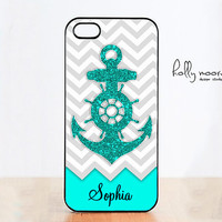 Personalized iPhone 4 Case, Anchor Glitter iPhone 4s case, Samsung Galaxy S3, iPhone case, Monogram iPhone 5 case,Custom iPhone cover - H068