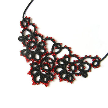 """Tatted lace black and red filigree necklace - Black lace necklace with red glass beads """"Filigran"""" collection"""