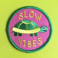 Slow Vibes Patch, Tortoise Patch, Cute Pink Patch, Animal Patch, Turtle Patch, Iron On Patches, Embroidered Patch, Funny Patch, Lazy Patch