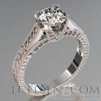 Pave diamond enagement Rings Antique style engagement ring Round Brilliant Cut Diamond