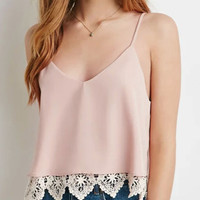 Pink V-neck Lace Strappy Vest
