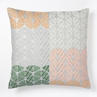 Embroidered Geo Colorblock Pillow Cover - Rose Fog