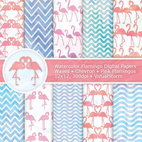Pink Flamingos Digital Paper, Printable Flamingo Papers, Watercolor Birds and Chevron Background Patterns, Pink Blue Animal Digital Paper