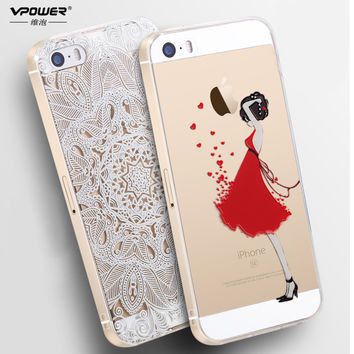 Vpower For Covers iPhone 5s Case Luxury Transparent Soft TPU 3D Relief Print Back Flip Cover Phone Bag For iphone 5 5s SE