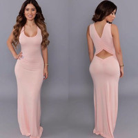 Pink Cut-Out Sleeveless Maxi Dress
