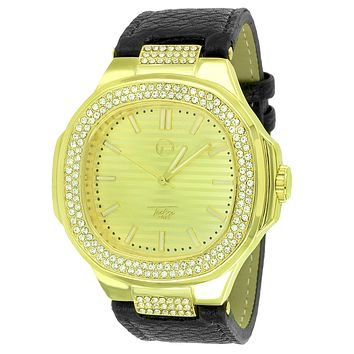 Custom  Simulated Diamonds Men's Square Face Leather Band Watch