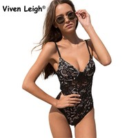 Viven Leigh Sexy Hollow Out Floral Lace Bodysuit 2017 Summer Black Women Backless Bodysuits for Women Rompers Bandage Beach Wear