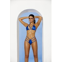 Metallic Blue Extreme Micro Strappy Triangle Top & G-String Thong Set