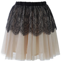 Contrast Black Lace Overlay Tulle Skirt Black S/M