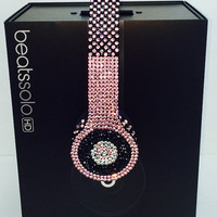 Beats by Dre Headphones Pink And Black Checker Design made w/ Swarovski Elements  #1 Custom Beats Seller We BEAT Any Deal! 1800 Sales