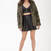 FOREVER 21 Faux Leather A-Line Skirt Black